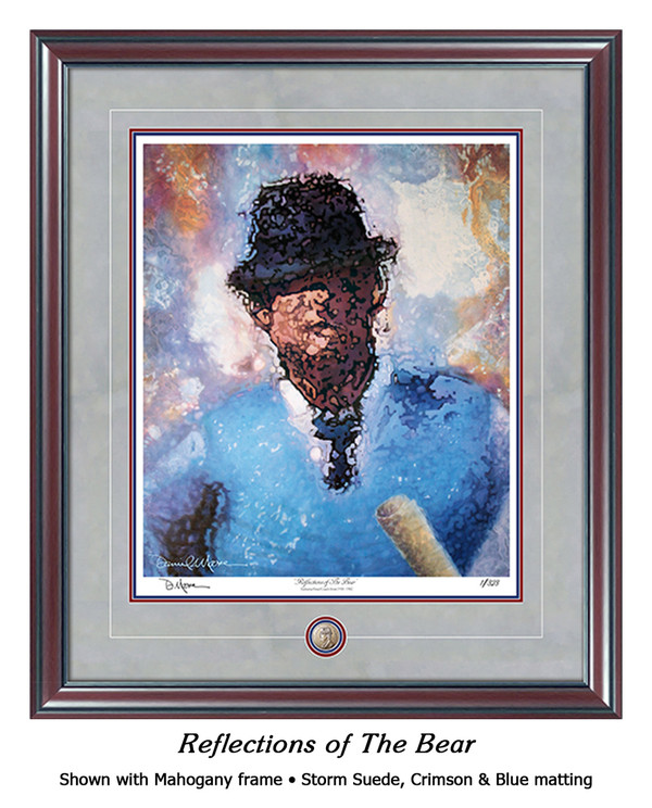"""Reflections of the Bear"" print shown in our Maghogany frame with Storm Suede/Crimson/Blue matting."