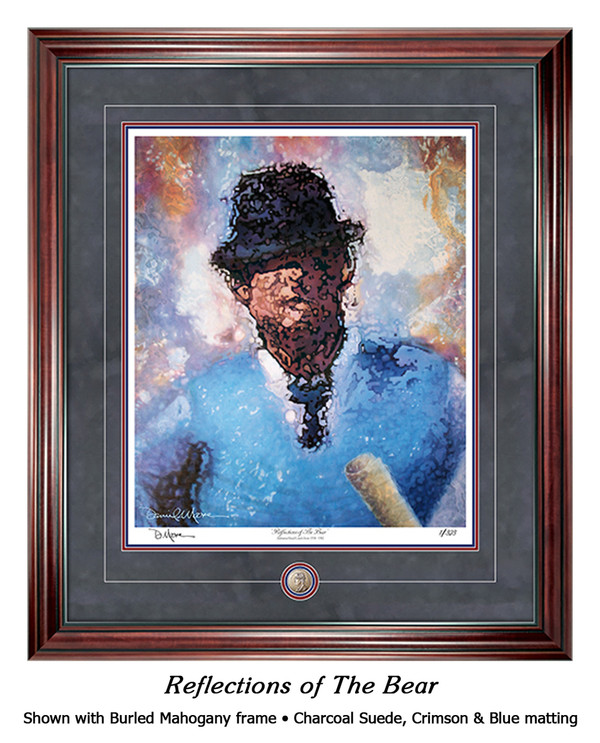 """Reflections of the Bear"" print shown in our Burled Mahogany frame with Charcoal Suede/Crimson/Blue matting."