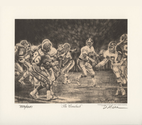 The comeback pencil drawing alabama football vs georgia 1985 mike shula