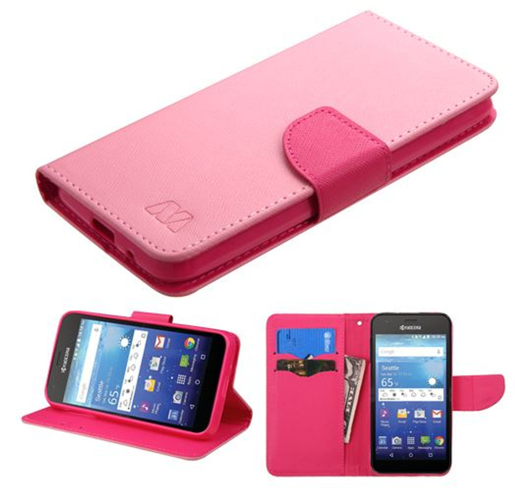 Kyocera Hydro Wave MYBAT Pink Pattern/Hot Pink Liner MyJacket wallet (with card slot)(846) (with Package)
