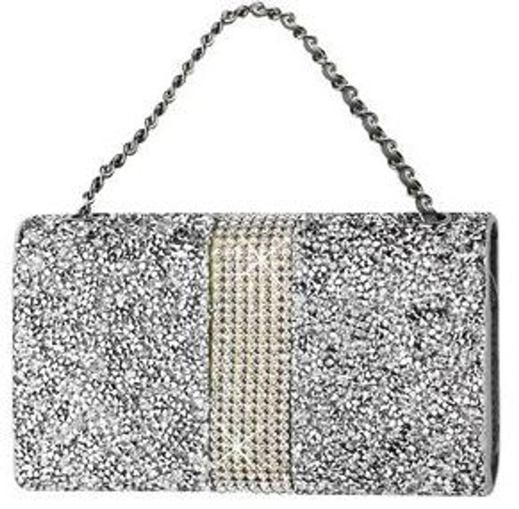 Universal Reiko Horizontal Bling Diamonds Pouch 5.5 In Silver