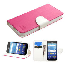 Kyocera Hydro Wave MYBAT Hot Pink Pattern/White Liner MyJacket wallet (with card slot)(842) (with Package)