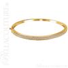 (NEW) BELLA COUTURE FINE ELEGANT PAVE' DIAMOND 14K WHITE GOLD PUSH BUTTON HINGED BANGLE BRACELET (1CT. TW.)