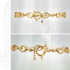(NEW) BELLA COUTURE ETRUSCAN COLLECTION Fine 14K Solid Yellow Gold Chain Toggle Dangle Drop Accent Bracelet