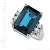 (NEW) BELLA COUTURE Le BALINA FINE GORGEOUS GENUINE LONDON BLUE TOPAZ DIAMOND RING 14K WHITE GOLD RING