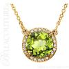 "(NEW) BELLA COUTURE OPHELIA FINE GORGEOUS PERIDOT GEMSTONE DIAMOND 14K YELLOW GOLD PENDANT NECKLACE (16"" Inches)"