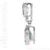 (NEW) BELLA COUTURE BALINA Pave Diamond Genuine Aquamarine Gemstone 14K White Gold Dangle Drop Pendant