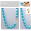 """(NEW) BELLA COUTURE (LIMITED EDITION) STUNNING TURQUOISE 14K GOLD NECKLACE VTG VICTORIAN PERSIAN HUE 15MM (20"""" Inches in Length)"""