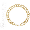 """(NEW) BELLA COUTURE LIBBY Gorgeous 14K Yellow 5.7mm Wide Double Link Charm Bracelet (7.25"""" Inch)"""