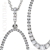 """(NEW) BELLA COUTURE Pave Diamond Oval Silhouette 14k White Gold Pendant Necklace (18"""") (5/8 CT. TW.)"""