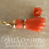 SALE PENDING! - ANTIQUE Rare Georgian Victorian Carved Coral Hand Rose Flower & Miniature Turquoise 18K Gold Charm Bracelet