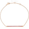 """(NEW) BELLA COUTURE ZOE Pave' Pink Sapphire 14K Yellow Gold Bar Bracelet with Chain ~ Adjustable 8"""", 7.5"""", 7"""""""