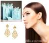 (NEW) BELLA COUTURE FINE HAUTE COUTURE FLEUR-DE-LIS DIAMOND CHANDELIER FILIGREE DANGLE DROP 14K YELLOW GOLD EARRINGS