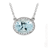 "(NEW) BELLA COUTURE HAMPTON Collection Fine Genuine Aquamarine Diamond 14k White Gold Pendant Necklace (18"" Inches in Length)"