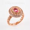 (NEW) Bella Couture Gorgeous Genuine Pink Tourmaline 1/3CT Diamond 14k Rose Gold Dangle Drop Earrings