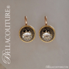 SOLD! - (ANTIQUE) Gorgeous Exquisite Rare Fine Victorian French Enamel Enameled Cushion Emerald Cut Diamond 18K 18Ct 18Kt Solid Yellow & Rose Gold Earrings - c.1838 - Fine Jewelry (One of a Kind)