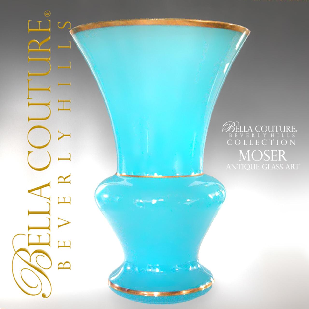 Rare Antique Gorgeous Large Moser French Blue Opaline Gilt Gold Vase