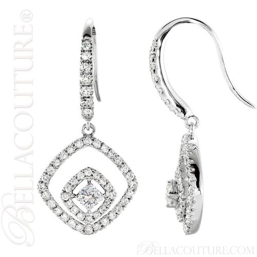 (NEW) BELLA COUTURE HANNAH Gorgeous Fine 1 CT Diamond 14K White Gold Double Dangle Drop  Earrings