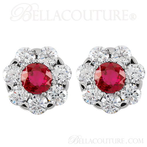 (NEW) Bella Couture Gorgeous 1 1/8CT Diamond Genuine Ruby 14k White Gold Cluster Earrings