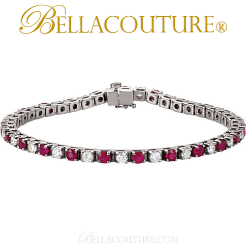 (NEW) Bella Couture Le ROSE' 3.25CT Diamond Ruby 14k White Gold Tennis Bracelet