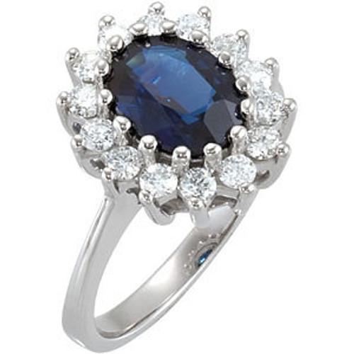 (NEW) BELLA COUTURE BALMAN EXQUISITE BLUE SAPPHIRE 1/2 CT DIAMOND 14K WHITE GOLD ENGAGEMENT / ANNIVERSARY RING