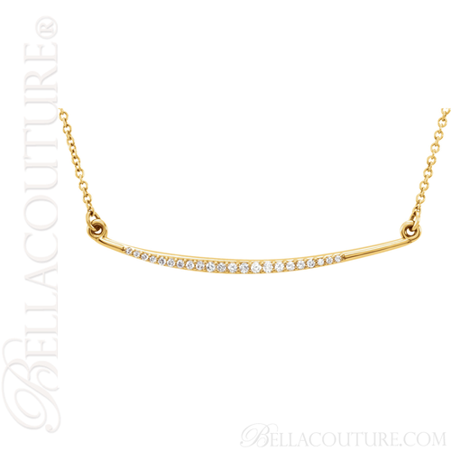 """(NEW) BELLA COUTURE Fine Delicate Diamond Curved Bar 14K Yellow Gold Pendant Necklace (16"""" in Length)"""