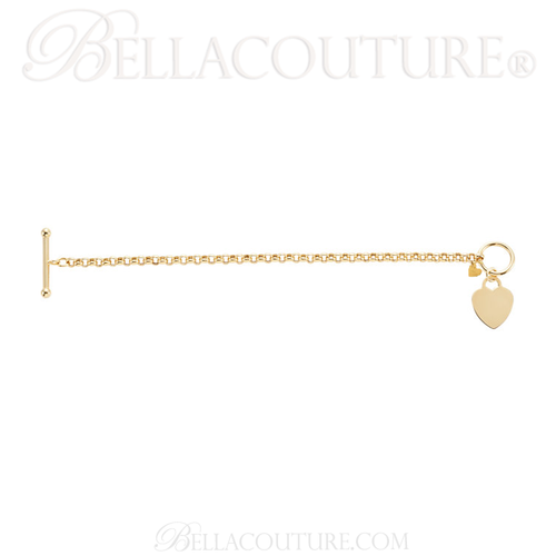 "(NEW) BELLA COUTURE® Fine 14K Solid Yellow Gold Double Heart Rolo Chain Charm Bracelet (4MM Width) (7"" Inch)"