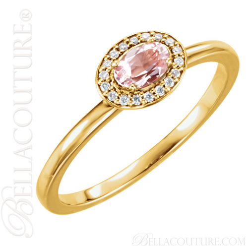 (NEW) BELLA COUTURE BALINA Fine Diamond Genuine Rose Morganite Oval Dainty Gemstone 14K Yellow Gold Ring