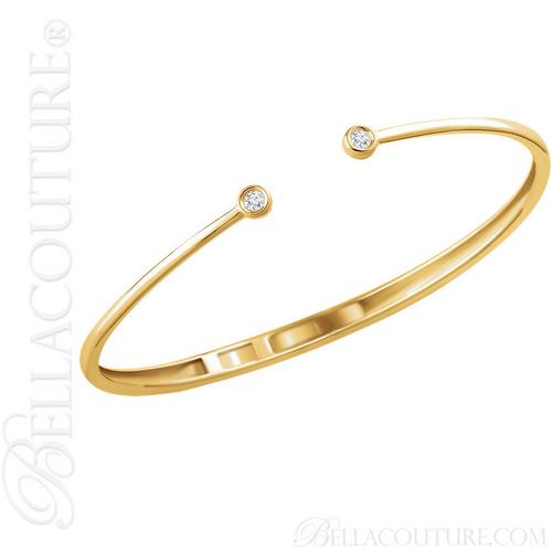 (NEW) BELLA COUTURE CORINA Gorgeous Diamond Fancy Hinged 14K Yellow Gold Cuff Bracelet (1/6 CT. TW.)