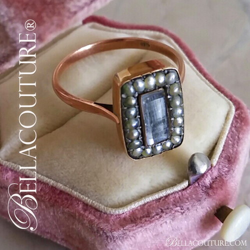 SOLD! (ANTIQUE) Rare Gorgeous Georgian Victorian Natural Freshwater Pearl Rock Crystal Window Mourning Hair Locket Ring c.1714 -1838 One of a Kind Fine Jewelry