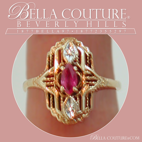 SOLD! - (ANTIQUE) ANTIQUE VICTORIAN RUBY DIAMOND YELLOW GOLD MARQUISE 10K RING - SIZE 6