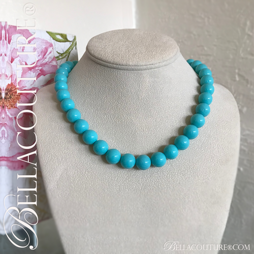 """(NEW) BELLA COUTURE (LIMITED EDITION) STUNNING TURQUOISE 14K GOLD NECKLACE VTG VICTORIAN PERSIAN HUE 11MM (20"""" Inches in Length)"""