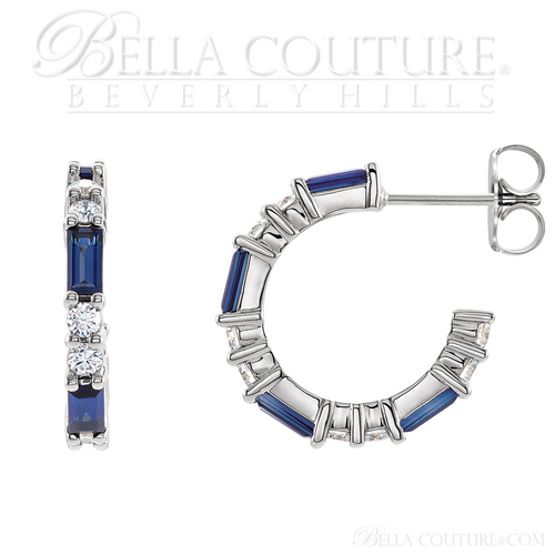 (NEW) BELLA COUTURE® BAGUETTE GENUINE NATURAL BLUE SAPPHIRE 14K WHITE GOLD ROUND GEMSTONE DIAMOND HOOP EARRINGS .50 CTW (1/2 CT. TW.)