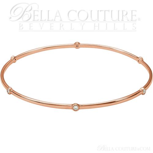 "(NEW) BELLA COUTURE ELEGANTE' Gorgeous 6 Diamond 14K Rose Gold Bezel Bangle Bracelet (1/2 CT. TW.) 8"""