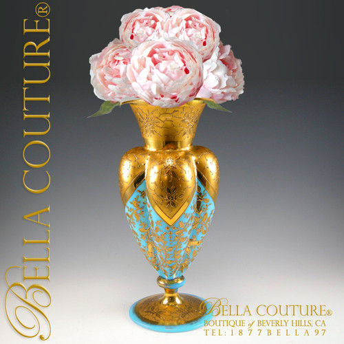 Bella Couture Antiques Vases Antique Moser Bohemian Gilt Gold French