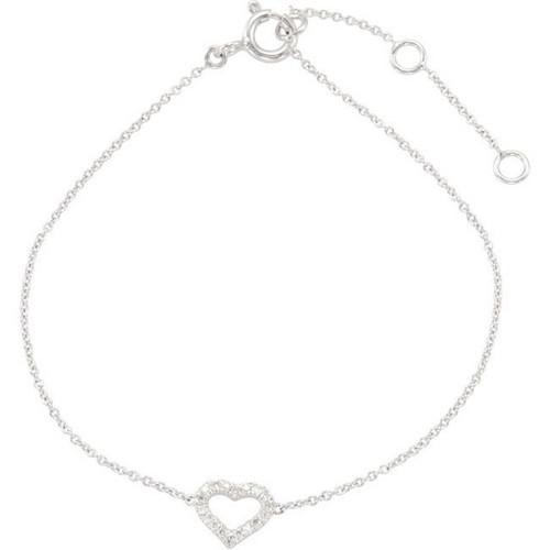 (NEW) BELLA COUTURE DEMURE DIAMOND HEART BRACELET in 14K White Gold