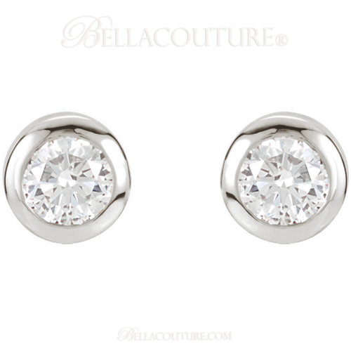 (NEW) Bella Couture Fine 1/2 CT Diamond 14k White Gold Classic Stud Earrings