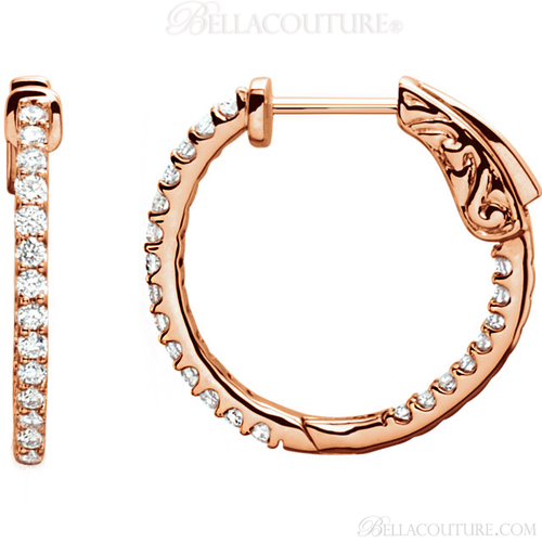 (NEW) BELLA COUTURE FLORA Collection Gorgeous Fine Brilliant 1/2CT Pave' Diamond Inside/Out 14K Rose Gold Hoop Lever Back Earrings