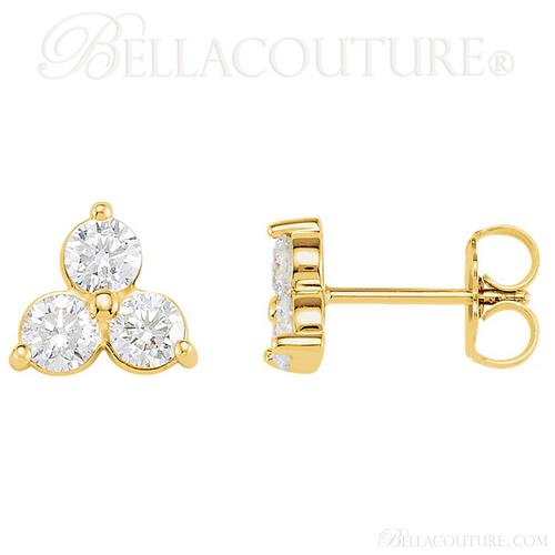 (NEW) BELLA COUTURE DEMI Gorgeous Fine Three-Stone Diamond 14K Yellow Gold Earrings (1 1/5 ct. tw.)