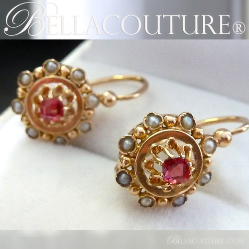 SOLD! (ANTIQUE) Rare EXQUISITE French Victorian 18K 18Ct Solid Yellow Gold Cushion Cut Ruby & Cultured Pearl Gemstone Earrings Circa 1700s - 1840s Fine Jewelry