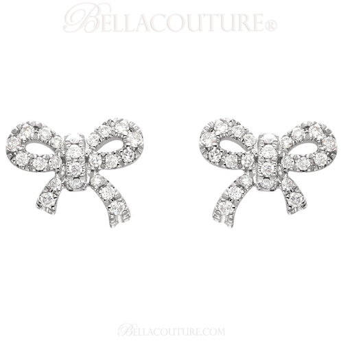 (NEW) BELLA COUTURE LE PETITE BOW Gorgeous Fine (46) Diamond 14K White Gold Earrings (1/5 ct. tw.)