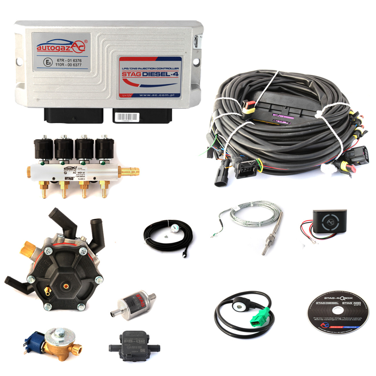 Ac Stag Diesel Lpg Conversion Kit Wiring Harness Cummins Exhaust Temperature Controller Autogas For Engines Full Front Probes Reducer Injectors Ecu