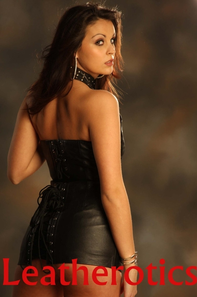 Leather Steel studded Mini Dress Top  image 2
