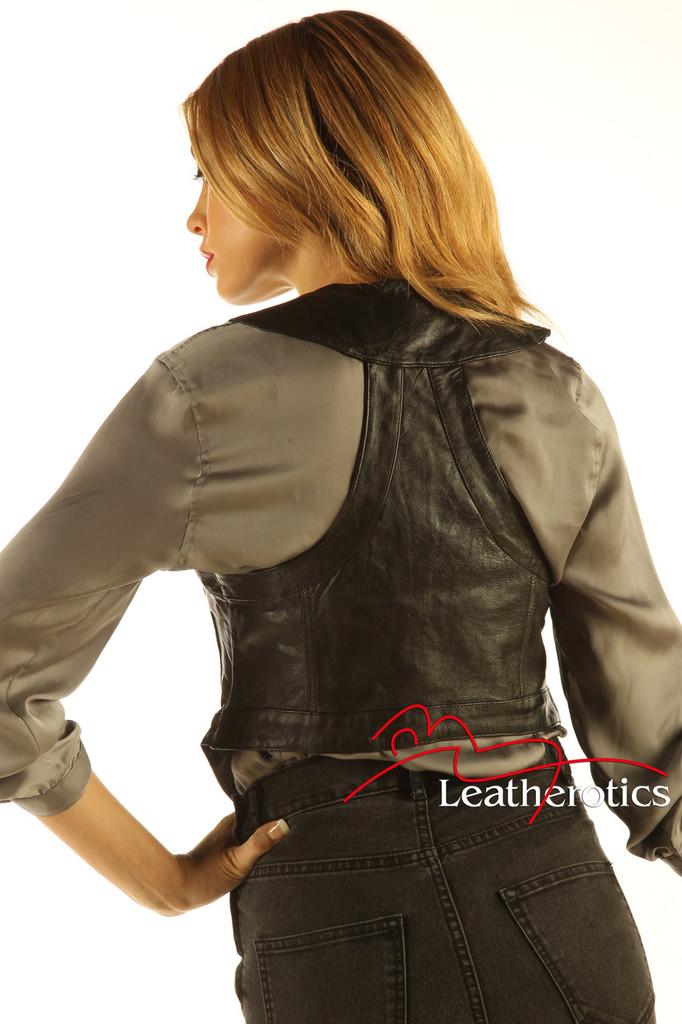 Soft Leather Fashion Waist Coat Ladies Waistcoat WC1 - back