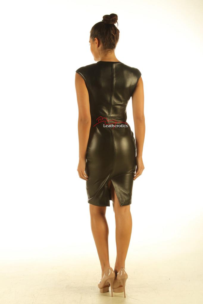 Lavish Soft Black Leather midi Dress Zip Front Top Calf Length  back