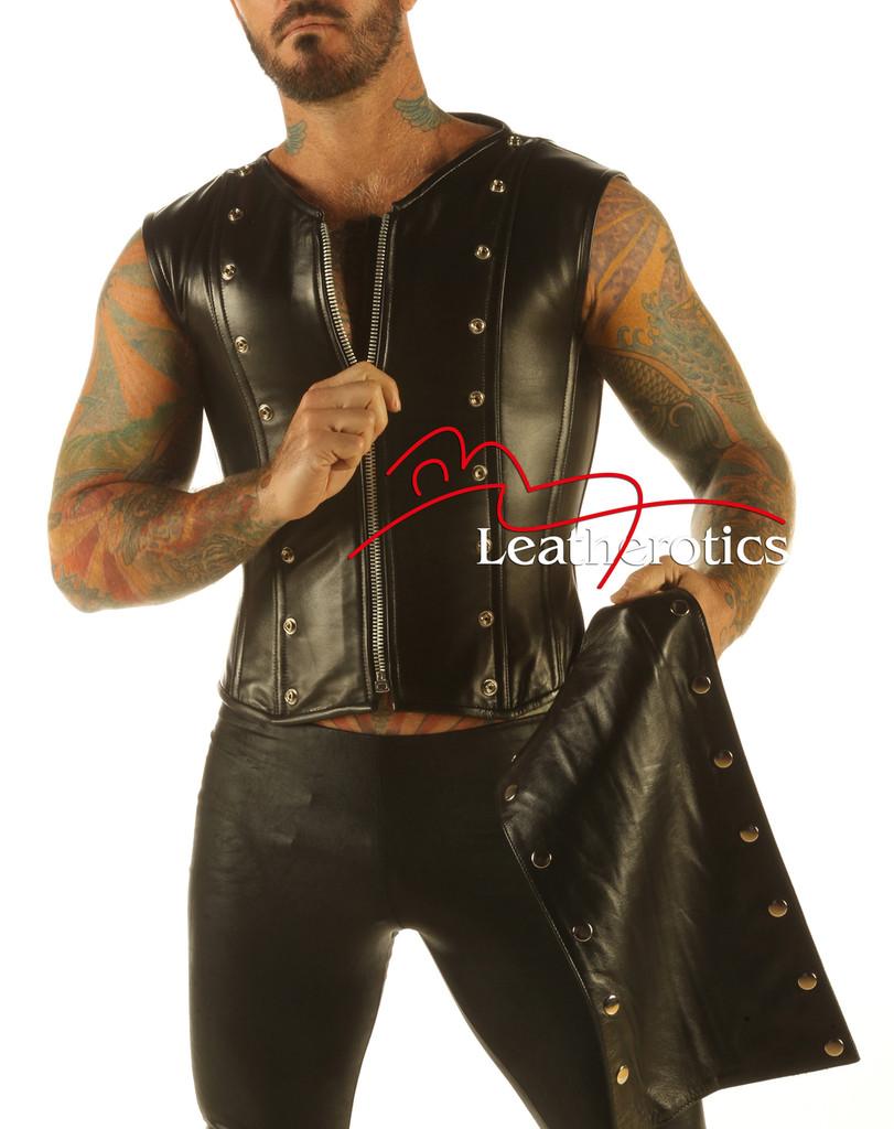Full Grain Leather Mens Vest Waistcoat Victorian Steel Boned Shirt VC9