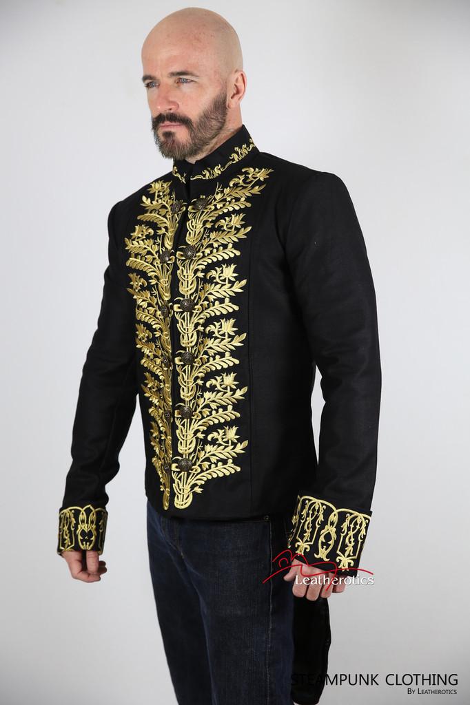 Vintage Embroidered Tailcoat Black Cotton Mens