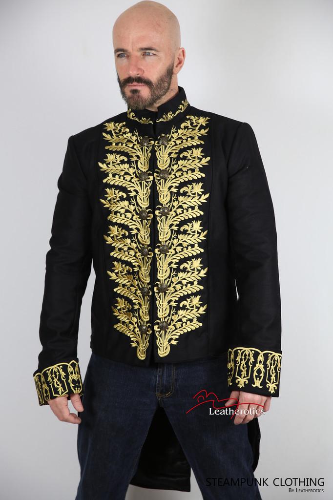 Vintage Embroidered Tailcoat Black Cotton Mens image 2