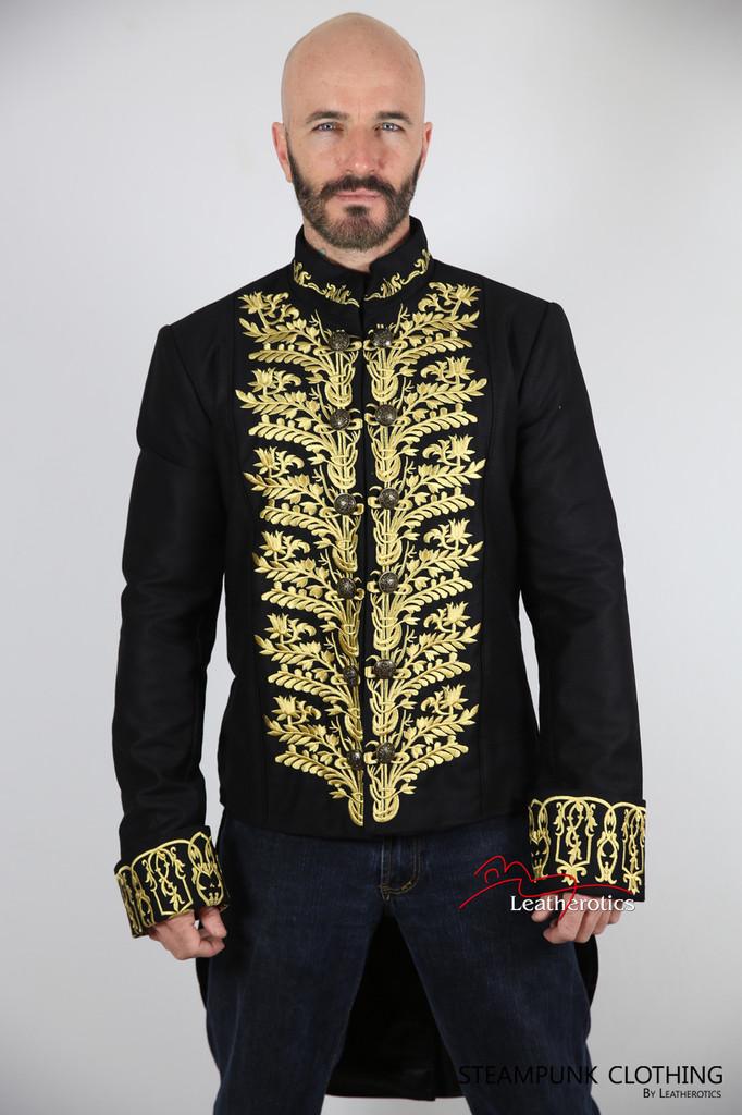 Vintage Embroidered Tailcoat Black Cotton Mens image 3