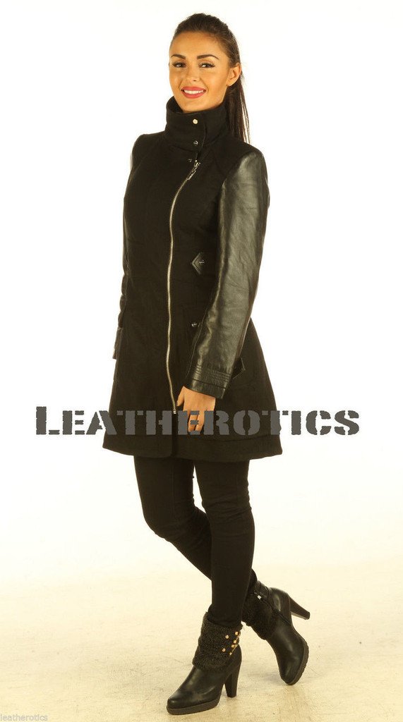Leather Wool Coat With Full Grain Leather Arm Sleeves Tight Fit in black colour image 4